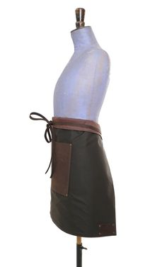 Leather & Waxed Cotton Half-Apron (Brown) - The Traditional English Apron Company Leather Apron, Leather Label, Half Apron, Cosplay Outfits, Coffee Shop, Upcycle, Traditional, Pocket, Brown