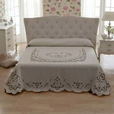 This Pin was discovered by Gül Linen Bedding, Bedding Sets, Whimsical Bedroom, Modern Bedroom, Bed Cover Design, Cutwork Embroidery, Cut Work, Bed Covers, Bed Spreads