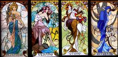 Alphonse Mucha Stained Glass Panel Summer through Winter custom made by Glass by Olimpia on Etsy.com