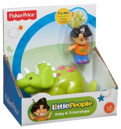 Koby is the Little People character who LOVES dinosaurs. They?re his favorite animal! If your little one likes dinos too, Koby and his Triceratops friend are ready to play!