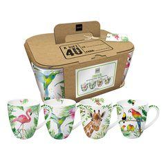 Tropical Mug Set #tropical #summer #sommer #mug #tasse #set #hummingbird #flamingo #giraffe #birds #setof4 #ppd #paperproductsdesign