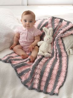 Lacy Stripes Blanket | Yarn | Free Knitting Patterns | Crochet Patterns | Yarnspirations