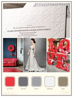 modern red and neutral grays = a sophisticated urban wedding!