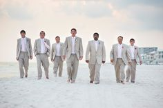 Beach Wedding; Groomsmen - Seriously LOVE their suits and tie combos!