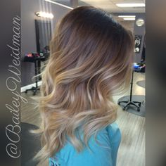 Gorgeous warm brown color melt to fresh blonde ends!