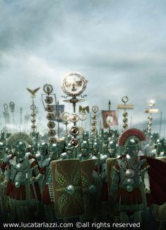 """The Roman Army: Contubernium (8 men) - Centuria""""Century"""" (80 men)- Cohort (480 men) -Legio""""Legion"""" (5,000 men)"""