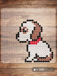 Free Puppy Dog Hama Beads Pattern or Cross Stitch Chart