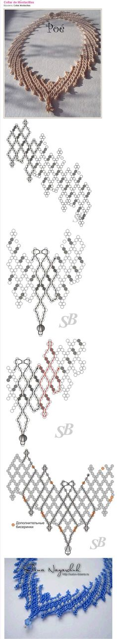 ~ Seed Bead Tutorials Discovred by : Linda Linebaugh Beaded Necklace Patterns, Seed Bead Patterns, Beading Patterns, Seed Bead Jewelry, Bead Jewellery, Necklace Tutorial, Bijoux Diy, Schmuck Design, Beads And Wire