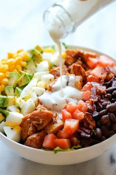 BBQ Chicken Cobb Salad - Healthy hearty quick and easy with anincredibly creamy buttermilk ranch dressing that is absolutely to diefor!