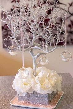 Pretty decorations at a winter birthday party! See more party planning ideas at CatchMyParty.com!