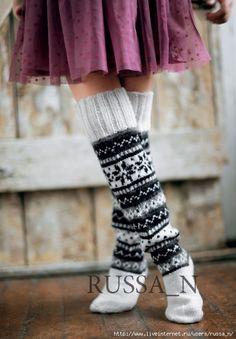 Жаккардовые носочки спицами