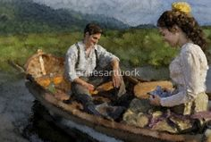 Jack and Elizabeth on a boat together. This artwork is based on the tv series called ;When Calls The Heart; by author Janette Oke • Buy this artwork on apparel, stickers, phone cases, and more.  #janetteoke #impressionist #impression #wcth #hallmark #artwork #canadianartist #tvseries #redbubble #jack #elizabeth