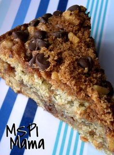 MSPI Mama: Banana Coffee Cake with Chocolate Chip Streusel. Someone made this for a babyshower and it was gluten, egg, and diary free and it was AMAZING. Never would have guessed!