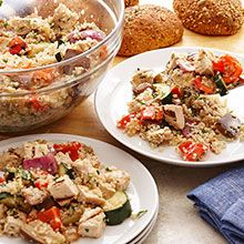 Chicken and quinoa combine with grilled ratatouille for a complete meal. Cherry tomatoes, eggplant, zucchini, and red bell peppers add nutrition and color.