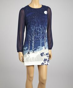 Take a look at this Yumi Blue Midnight Forest Shift Dress on zulily today!