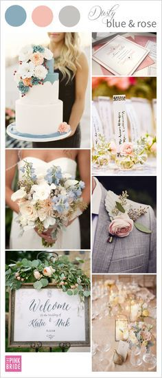 Love this dusty blue wedding and dusty rose wedding color board inspiration!   The Pink Bride www.thepinkbride.com