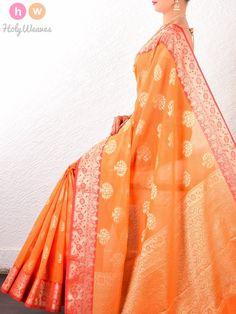 Orange Banyan Tree Cotton Silk Cutwork Brocade Woven Saree - HolyWeaves