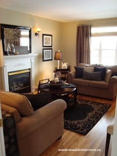 Black & Beige Living Room - Would kinda match our kitchen table if our apartment is set up where the living room joins with the kitchen.