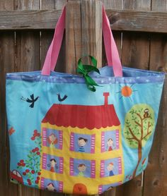 Liarge Fabric Handmade Bag Little Girl by CrossMyHeartBags on Etsy