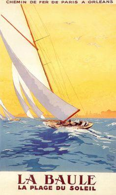 La Baule, France, Vintage Sailing Poster (c.1925) - Art Deco Travel Poster.