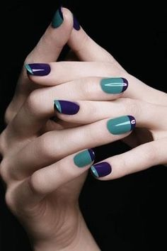 65 Super Ideas For Gel Manicure Colors Green French Nails, Blue French Manicure, French Manicure Designs, Nail Art Designs, French Polish, Dark Nails, Blue Nails, White Nails, White Polish