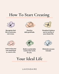 Hello to a new month! ✨ We encourage you to welcome a monthly theme into your life to create an intentional lifestyle. Creating your ideal life 🌷 Here are 6 tips to help guide you through making your dream life a reality – in a graceful, self-compassionate approach. Which of these tips feels like a good starting point for you? #lavendaire #dreamlife #selflove #selflovejourney #positivity #gratitude #manifestation #artistoflife #lifestyle #dreams Monthly Themes, New Month, Never Too Late, Greek Quotes, Learning To Be, Creative Thinking, Dream Life, Law Of Attraction, Self Help