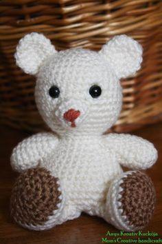 Crochet Teddy, Free Pattern, Diy And Crafts, Hello Kitty, Teddy Bear, Knitting, Creative, Crochet Stitches, Bears