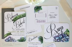 Succulent and Hydrangea Wedding Invitation featuring my watercolor illustration for wedding, party, birthday, shower, or other event