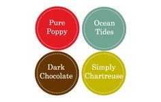 pure poppy, ocean tides, dark chocolate, simply chartreuse