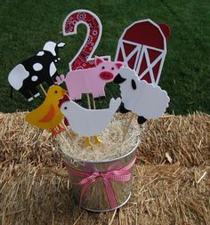 RESERVED FOR tmitch11 - Farm/Barnyard Theme Party Centerpiece. $36.00, via Etsy.