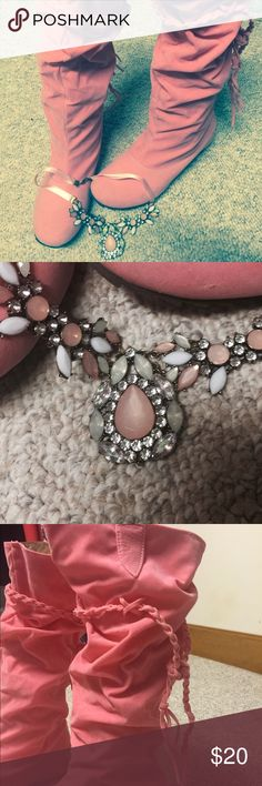 High Pink Boots with Free Necklace As shown in pictures. EUC AND ALL ITEMS FROM A SMOKE FREE HOME. Gently used if not specified NWT. Enjoy and shop away! Make me an offer  Bundle, Bundle, Bundle for increased savings and watch for flash sales! Shoes Heeled Boots