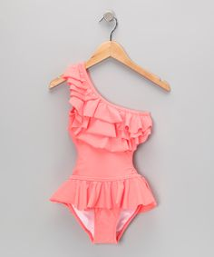 Sewing inspiration  Coral Asymmetrical Tiered Ruffle Skirted One-Piece