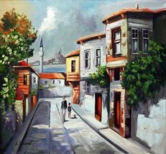 Istanbul, Oil Painting Pictures, Street Painting, Step By Step Drawing, Historical Pictures, City Streets, Colorful Pictures, Beautiful Paintings, African Art