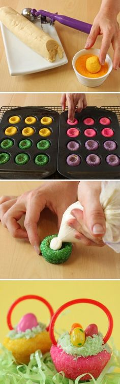 Easter Basket Cookies [Tutorial] : colored sprinkles + cookie dough + jelly beans + licorice... super cute!
