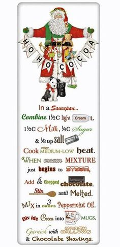 Recipe Flour Sack Dish Tea Towels - Santa Hot Cocoa – For the Love Of Dogs - Shopping for a Cause