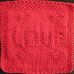 Love Knit Dishcloth Pattern This knit dishcloth design is the word LOVE surrounded by four hearts – one in each corner.