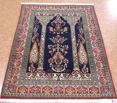 3 x 5 Persian Qum Pictorial Hand Knotted Wool New Navy Red Floral Oriental Rug in Home & Garden, Rugs & Carpets, Area Rugs | eBay