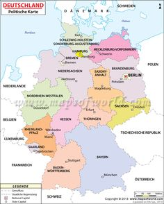 political map of germany in german language