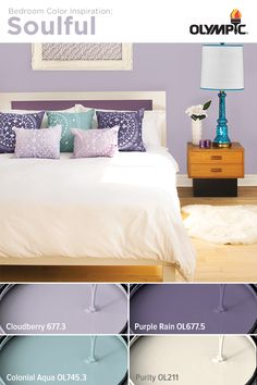 Soulful Bedroom Color Scheme: Mix layers of purple with notes of aqua and white to bring a soulful sense of harmony to your bedroom.