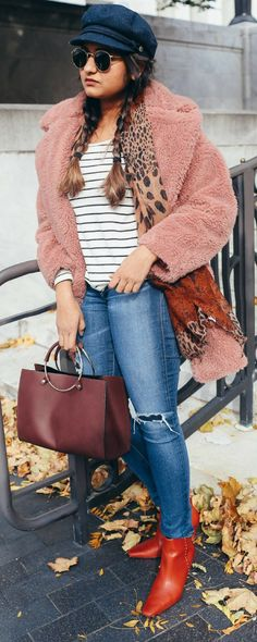 2018 Winter Coat Trends   dreamingloud.com -------------------------------------------pink Faux fur coat, blush faux fur coat, stripe tee, ag distressed skinny jeans, leopard scarf, Briton fisherman hat, red booties, winter outfits, street style, fashion blogger, trending winter outfits