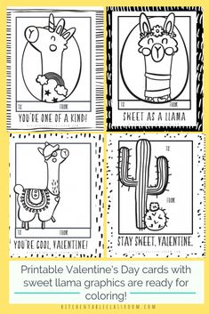 Llama Valentines- Free Printable Valentines Cards to Color - The Kitchen Table Classroom - These llama Valentines are perfect for the llama obsessed. These free printable Valentines cards to - Free Valentine Cards, Printable Valentines Day Cards, Kinder Valentines, Happy Valentines Day Images, Homemade Valentines, Valentines For Kids, Printable Cards, Valentine Crafts, Free Printable