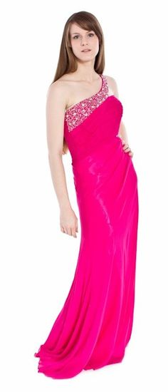 Corporate Function Fuchsia Dress Bead One Strap Ruched Chiffon Long $207.99