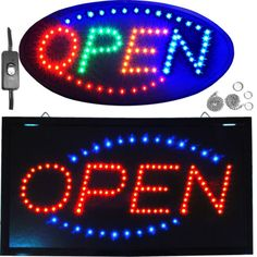 NEON OPEN SIGN LIGHT SIGN RESTAURANT BUSINESS BAR BRIGHT Cooler Depot
