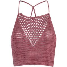 Dusty Pink Crochet Halterneck Crop Top (79 BRL) ❤ liked on Polyvore featuring tops, crop top, shirts, tank tops, pink, denim shirts, red halter top, denim halter top and crochet top