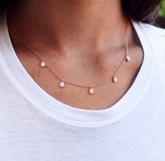 14kt gold 5 drip Pluie necklace – Luna Skye by Samantha Conn