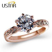 1.75ct AAA Zircon Anéis de Noivado para as mulheres cor de Rosa de ouro anéis feminino anel de Casamento Cristais Austríacos Jóias top quality alishoppbrasil