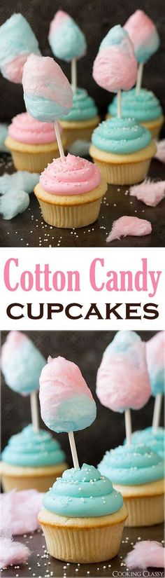 Cotton Candy Cupcakes - these are so fun! My kids loved them! The cupcakes are so soft and fluffy and the buttercream is melt-in-your-mouth amazing!: