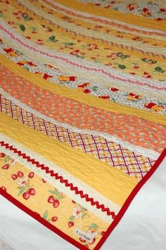 of A La Mode: The Sewing Studio - Kitschy, Kitschy Quilt. Jellyroll Quilts, Scrappy Quilts, Easy Quilts, Crazy Quilting, Strip Quilts, Quilt Blocks, Quilting Projects, Quilting Designs, Sewing Projects
