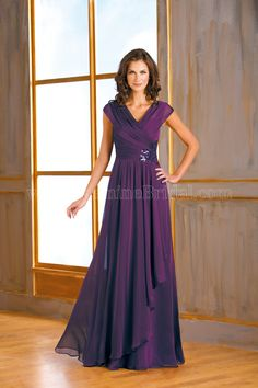 Jasmine Bridal Mother of the Bride/Groom Dress Jade Style J175009 in Bordeaux Purple. A sophisticated and elegant dress that will catch the attention of everybody at your next special event. This Tiffany chiffondress features an elegant V neckline, A-line skirt, ruching on the bodice, and a rose paillette sash detail.