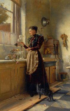 """Arranging the Flowers"" by Pieter Alardus Haaxman (1814-1887)."